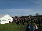 Crowds gathered on the Village Green for Richard III's reinterment